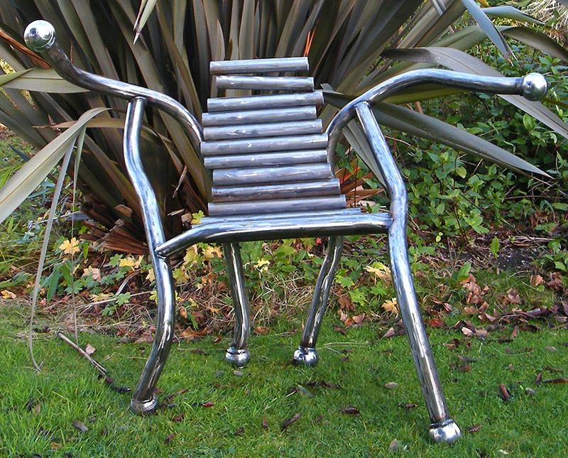 The Boule Chair - Funky metal furniture created from metal tubing and petanque balls