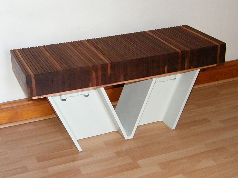 V-Bench created from girder offcuts and recycled mahogany draw runners