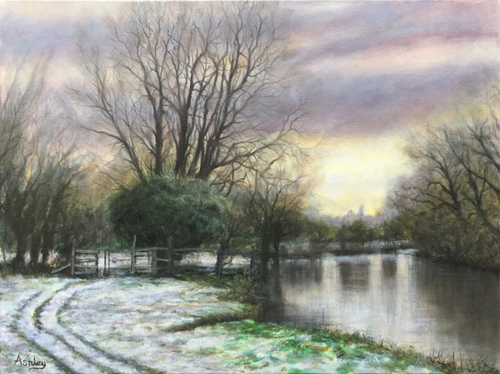 Snowscape painting, February Snow, Grantchester Meadows