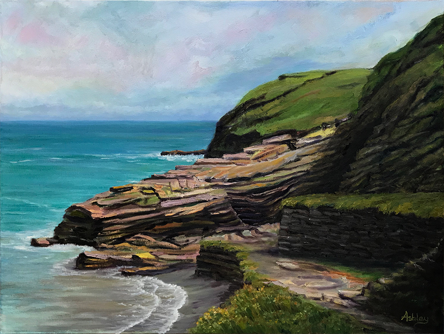 View of King Arthur Walk, Tintagel, Cornwall - Oil painting on canvas