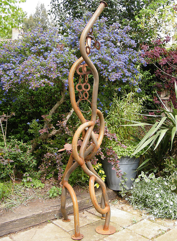 Serpetnine sculpture created from recycled metal